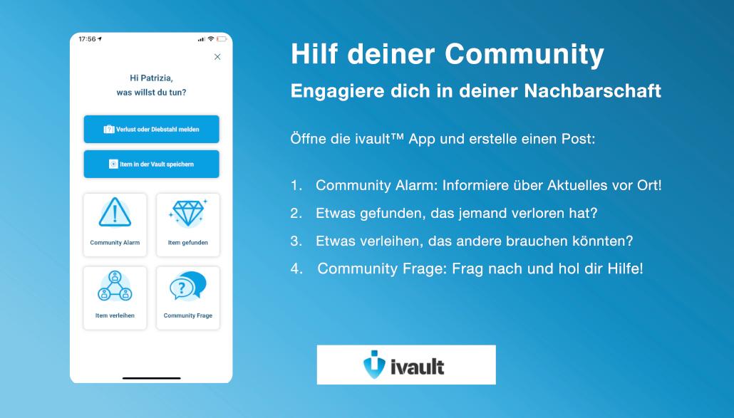 Wie kann ich mich sozial engagieren in meiner Nachbarschaft und andersnorts? Connecte dich mit deiner lokalen Community über die ivault App. Easy.